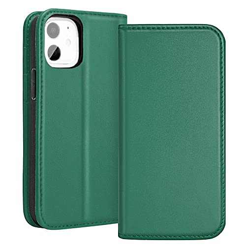 RedyRun for iPhone 12 Mini Case Genuine Leather Wallet Card Holder Shockproof Protective Cover (5.4 inch, 1 PC) - Ivy Green
