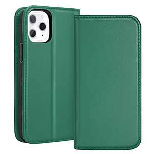 RedyRun Leather Wallet Case for iPhone 12 Pro Max for Men Women Top Grain Leather Folio Cover with Card Slot Kickstand Shockproof Soft TPU Interior Shell, Ivy Green