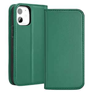RedyRun Wallet Case Real Cowhide Leather Card Slots Kickstand Magnetic Clasp All-Round Protection Durable Shockproof Cover for iPhone 12/12 Pro, 6.1 inch, Ivy Green