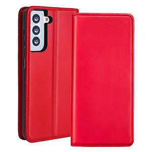 RedyRun S21+ Case with Magnetic Closure Card Holder RFID Blocking Leather Cell Phone Flip Folio Protective Cover Durable for Samsung Galaxy S21+ 5G, Carmine Red