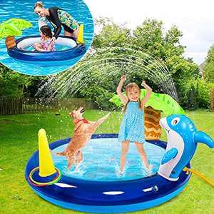 Inflatable Sprinkler Pool for Kids, 4 in 1 Splash Pad Water Sprinkler for Kids with 3 Toss Rings, Dolphin Kiddie Pool Water Toys for Toddlers Babies Backyard Sprinkler Outdoor Play