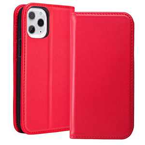 RedyRun Wallet Case Compatible with iPhone 12 Pro Max case for Women Magnetic Closure Card Holder RFID Blocking, Garin Leather Phone Flip Folio Protective Cover Durable, Carmine Red