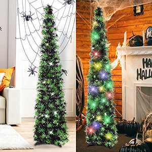 HMASYO 5 Foot Black Tinsel Halloween Christmas Tree with 50 LED Colorful Lights - Collapsible Pop Up Spider Sequin Artificial Pencil Halloween Tree Decorations for Home Fireplace Party Indoor Outdoor