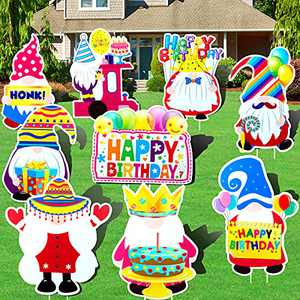 9PCS Happy Birthday Yard Signs Gnomes Outdoor Lawn Decorations Birthday Yard Sign with Stakes for Kids & Adults Yard Garden Backyard Door Lawn Party Decor Supplies Welcome Signs Waterproof Photo Props