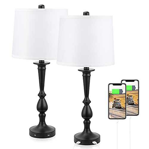 """Set of 2 USB Lamps for Living Room Table Top, Aooshine 25"""" USB Table Lamps for Living Room with White Lampshade, Modern Bedside Lamps with Black Finish, Accent Lamps for Bedroom End Table"""