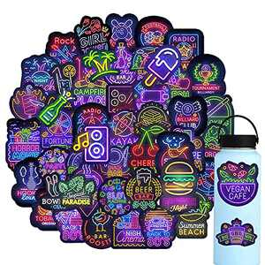 Halloween Stickers for Kids,Vinyl Neon Lights Stickers for Laptop,Gift for Adults Girl boy,Halloweeen Theme Party Favors and School Supplies(65 pcs)