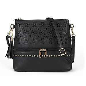 Boho Crossbody Bags for women Leather Purses and Handbags Small Cross Body bags Retro Hollow Out Bags Ladies Handbags Black