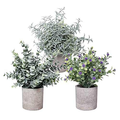 Mini Potted Fake Plants,SIOMK 3 Pack Artificial Plants & Flowers for Home Decor, Potted Fake Faux Eucalyptus Gypsophila Diffusa Greenery Plant for Bathroom Home Office Desk Table Room Decoration