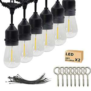 String Light Outdoor,15 LED Plastic Sockets Edison Bulbs 48Ft- UL Listed Heavy-Duty Decorative String Light for Cafe Bistro Garden Wedding Party Porch Patio (1 Pack)