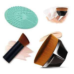 Foundation Makeup Brush, Flawless Momma Brush with Brush Cleaning Mat and Protective Case, Flat Top Kabuki Hexagon Face Blusher for Blending Liquid, Cream or Flawless Powder Cosmetics