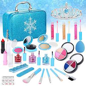 SUPER JOY Kids Washable Makeup Kit for Girls - Child Cosmetic Toys, Real Make Up Set Comes with Cosmetic Bag Princess Pretend Play Toys for 4 5 6 7 8 Year Old Girls Birthday Gift