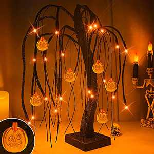 """TURNMEON 18"""" LED Halloween Willow Tree Decor Glittered 24 Orange Lights Timer Battery Powered Jack-O-Lantern Pumpkins Ornaments Black Spooky Tabletop Tree Halloween Scary Decorations Indoor Home Party"""