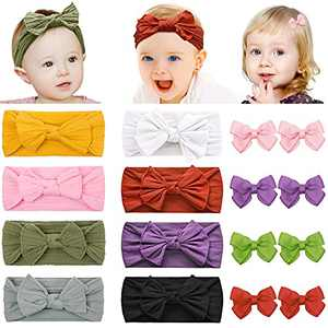 Huachi Baby Headbands for Girls Newborn Nylon Bows Baby Girl Stuff Baby Clips Elastic Infant Toddlers Kids Hair Accessories