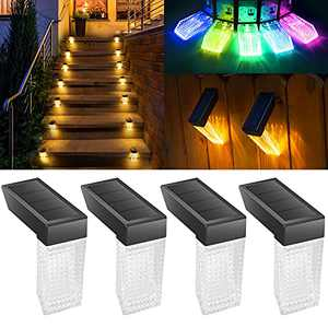 PANMO Solar Deck Lights Outdoor, Solar Step Lights Waterproof with 7 Color Changing Led Lights Solar Led Lights Decoration for Porch Pool Fence Stair Patio Yard Garden Railings( Warm White/RGB 4Pack)