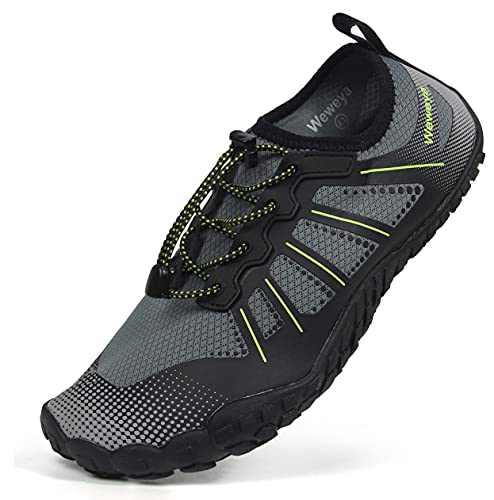 Mens Quick Dry Water Shoes Non Slip Beach Swim Shoes Kayak Hiking Fishing Shoes for Water Sports Swimming Driving Boat Gray Green Women Size 14 Men Size 12