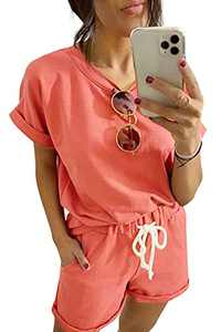 Women's Loungewear Sets 2 Piece Short Sleeve Top and Shorts Pajama Set Tracksuits with Pockets