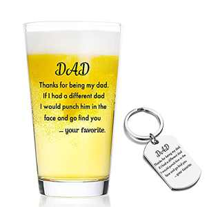Best Gifts for Dad from Son,Daughter,Birthday,Fathers Day,Christmas Idea Gifts for Dad -16oz Beer Glasses for Dad,Thank You Being My Dad,Dad Pint Glasses…