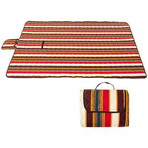 """Portable Outdoor Picnic Blanket 77""""x57"""" Machine Washable Large Camping Mat with Water-Resistant & Sandproof Backing, 3-Layer Handy Foldable Picnic Mat for Beach Garden Sports (Stripe)"""