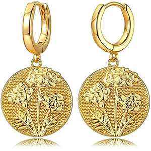 MUMREUES October Marigold Birth Flower Month Earrings 18K Gold Plated Dainty Huggie Hoop Disc Coin Disk Stamped Engraved Floral Dangle Drop Charm Earring Women Personalized Birthday