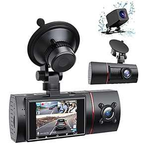 LAMONKE 3 Channel Dash Cam Front and Rear 1080P Dash Camera for Cars, Three Way Dash Cam, IR Night Vision, Loop Recording, G-Sensor, Parking Monitor for Taxi Driver