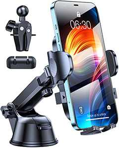 HTU Car Phone Holder Mount, 2021 Military-Grade Car Phone Mount for Car Dashboard Windshield Air Vent, Hands Free Cell Car Phone Holder Car Mount Compatible with iPhone Galaxy Google All Phones