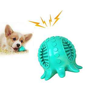 topgoo, Dog Chew Toy Octopus Shape Natural Rubber Toothbrush Squeaky Dog Puzzle Interactive Toys Ball for SmallMedium Puppy Dogs (Blue)