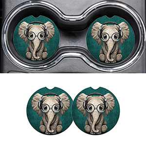 Car Accessories Coasters for Drinks Absorbent, Music Elephant Cute Car Coaster for Women, Cup Holder Coasters with Finger Notch for Easy Removal, Auto Accessories Set for Women Girls Lady