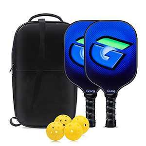 Grarg Graphite Pickleball Paddles Set, USAPA Standard 2 Pickleball Rackets and 4 Indoor & Outdoor Pickleballs Balls with Pickleball Bag for Women Men and Beginners Rackets Indoor Outdoor Sports