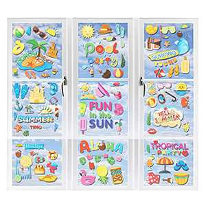 wartleves 9 Sheet Summer Window Clings for Glass Windows Beach Pool Party Pineapple Static Window Decal Hawaiian Fun in The Sun Stickers for Refrigerator Car Wall Birthday Decoration (100 Pieces)