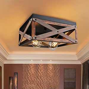 Rustic Flush Mount Ceiling Light Fixture 2-Light Farmhouse Light Fixtures Combine with Metal Wood Square Industrial Farmhouse Ceiling Light Fixtures for Kitchen Living Room Hallway Entryway Balcony
