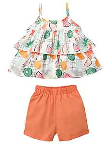 Newborn Baby Girls Clothes Sets Toddler 2pcs Costume for Party Orange 2T
