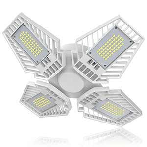 Mutois Led Garage Light,150W 6500K 15000LM E26/E27 Deformable Bright Garage Ceiling Lighting LED Shop Lights with 4 Adjustable Multi-Position Panels for Garage Workshop Basement
