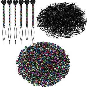 1306 Pieces Letter Beads Set Including 800 Multicolor Colorful Letters Alphabet Beads, 500 Mini Rubber Bands Soft Elastic Bands and 6 Quick Beader for Hair Braids, DIY Jewelry Crafts Supplies