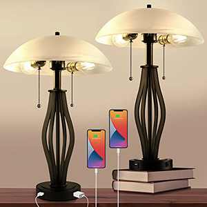 Bedside Table Lamps for Living Room End Tables Set of 2 with 2 USB Port and Outlet Mid-Century Nightstand Lamps for Bedroom