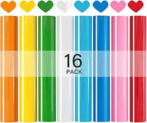 """HTV Heat Transfer Vinyl Bundle, Iron On 16 Sheets(10""""x12""""), Rainbow Color Vynil Roll for Press Accessories, DIY Supplies for T Shirt Projects, Easyweed Yellow Red Blue White Green Pink Patterned"""