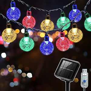 SUWITU Solar String Lights Outdoor 26ft 50 LED Garden Lights Solar/USB Powered Waterproof Multi-Coloured Hanging Solar Lights for Indoor/Outdoor, Tree, Patio, Yard, Fence, Gazebo, Wedding Party