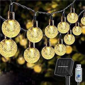 Solar Garden Lights, 26Ft 50 LED Solar Lights Outdoor Garden Waterproof USB/Solar Powered String Lights for Tree, Patio, Yard, Wedding, Party, Indoor/Outdoor Decorations, Warm White