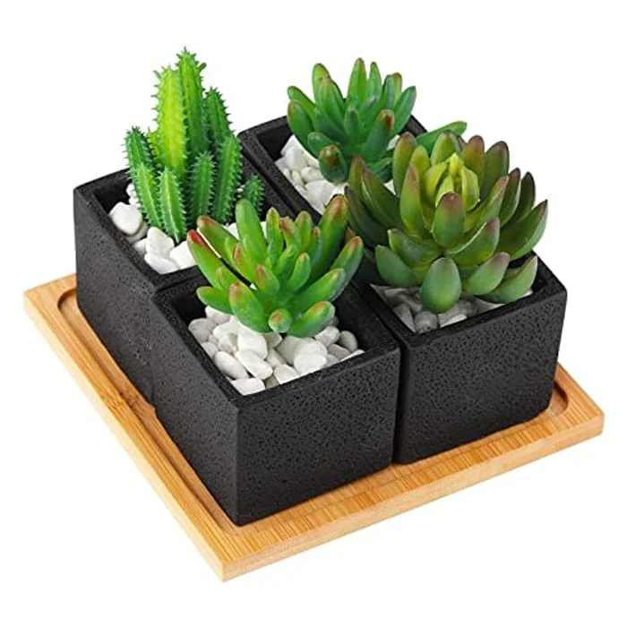 TOTOOSE Succulent Plant Pots Indoor - 2.6 inch Cement Succulent Planter Container Small Black Flower Pots with Bamboo Tray for Home and Office Set of 4