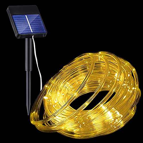 Wstan Solar Rope Lights, Warm White Fairy Lights 8 Modes IP65 Waterproof Upgraded Powered Panel 32.8FT 100 LED Outdoor Rope Lights for Gazebo Bistro Patio Christmas Tree