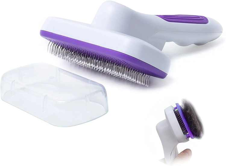 MELERIO Slicker Dog Cat Comb Brush, Pet Grooming Brush, Daily Hair Removal Brush for Long Short Hair Dogs and Cats - Purple