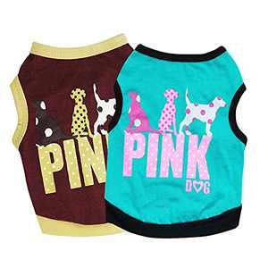 Pack 2 Dog Cotton Shirts Puppy Vest Cute Clothes for Small Dogs Summer Shirt Vacation Vest,Pet Breathable Soft Basic Clothes (Pack of 2 Pink Printed, X-Small)