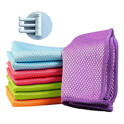 Fish Scale Cloths, 8 Pcs Fish Scale Rags Cleaning Rags Microfibre Polishing Cleaning Cloths Fish Scale Mirror Rags Streak-Free Miracle Cleaning Cloths (Size:11.8inx15.7in)