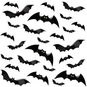 buddy4baby 60PCS Halloween Bats Decorations, PVC 3D Black Bats decor with Fluorescent Eyes, 2 Styles Removable Halloween Wall Sticker with 4 Different Sizes,for Halloween Decor Party Favors Props DIY Wall Decal