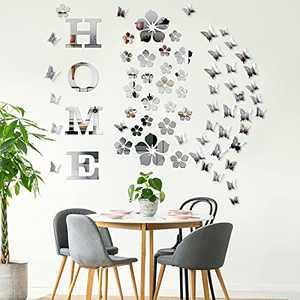 34 Pieces Home Letters Sticker 3D Acrylic Mirror Wall Stickers DIY Mirror Butterfly Combination Decors Removable Flowers Mirror Wall Decal for Home Decoration Office Living Room Silver