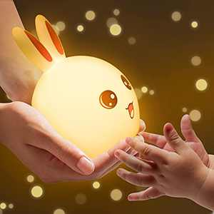 Night Light for Kids, Nursery Lights for Baby and Toddler, Anzid Portable Cute Bunny Lamp Tap Remote Control, Rechargeable Kawaii Room Decor Color Changing Squishy Silicone Kids Children Nightlight