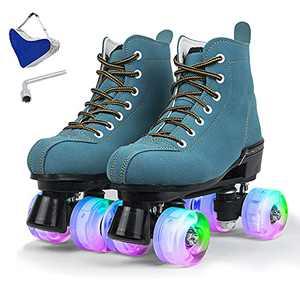 Roller Skates for Women Outdoor, High-Top 4-Wheels Suede Roller Skates for Girls, Womens Classic Shiny Roller Skate with Bag (GreenFlash-11)