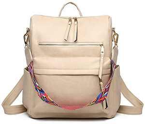 Women Backpack Purse Fashion Travel Bag Multipurpose Designer Handbag Ladies Satchel PU Leather Shoulder Bags (Beige)
