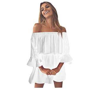 MORECON 2021 Women's Off Shoulder Mini Dress Summer Holiday Beach Frill Ruffle Sundress