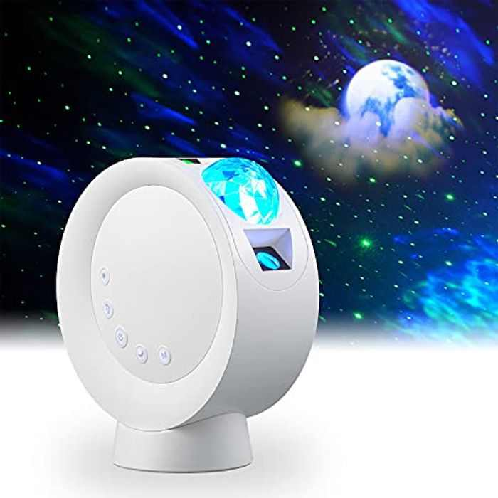 LooEooDoo LED Star Projector Light, Galaxy Lighting, Moon Nebula Night Lamp with Base, Remote Control and 2000mAh Battery Operated for Gaming Room, Home Theater, Bedroom , or Mood Ambiance (White)