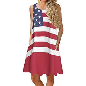 MORECON 2021 Women Summer Sleeveless Ameaican Flag Print with Pockets 4th of July Beach Mid Dress